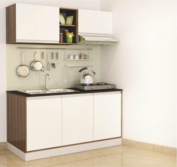 Tủ bếp nhỏ nhưng được tích hợp đầy đủ công năng cần thiết.