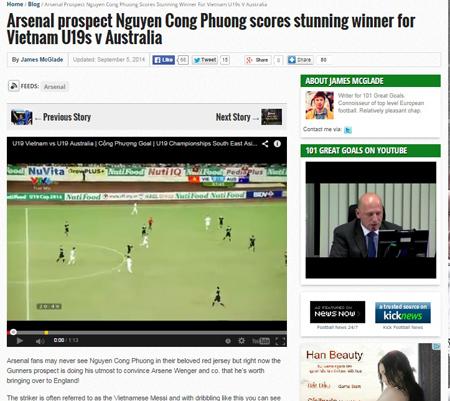 Báo chí nước ngoài tin Công Phượng xứng đáng chơi cho Arsenal