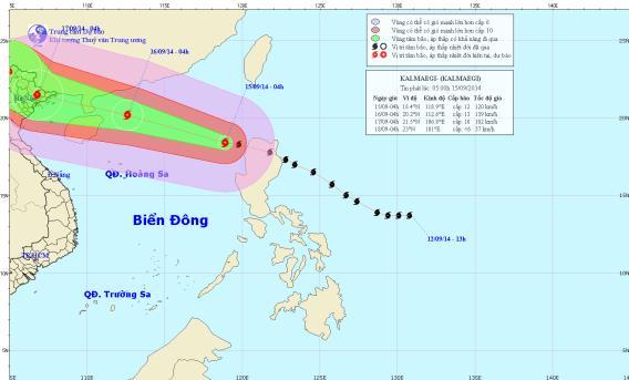 Tâm bão Kalmaegi sẽ đi vào các tỉnh đông bắc Bắc Bộ