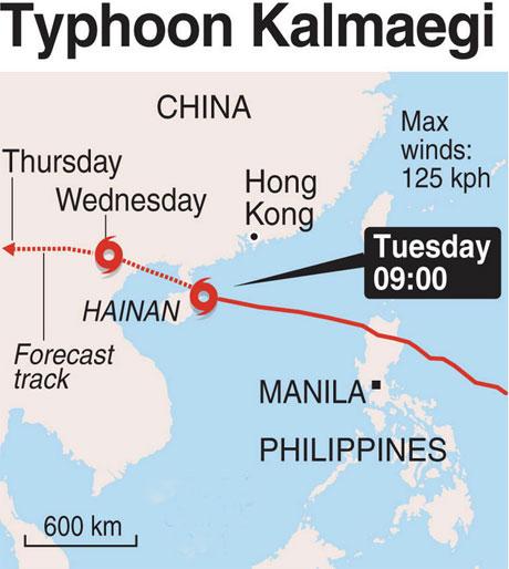 Mô phỏng đường đi của bão Kalmaegi.