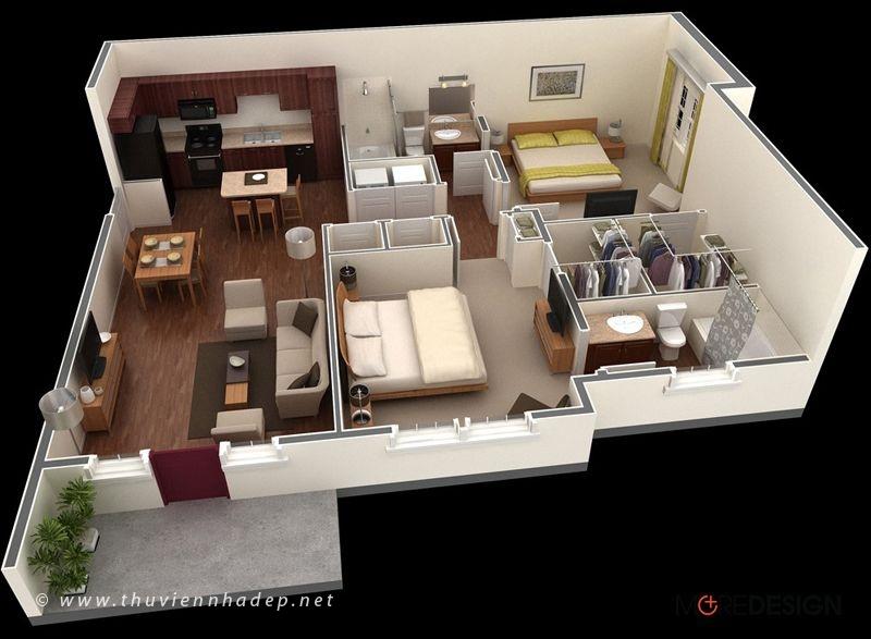 Mẫu bố trí nội thất căn hộ chung cư 2 phòng ngủ