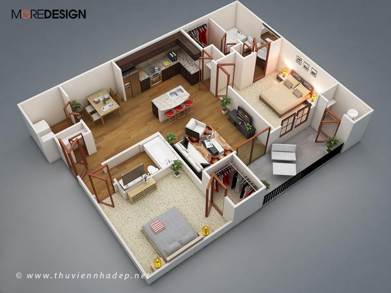 15 Mẫu bố trí nội thất căn hộ chung cư đẹp