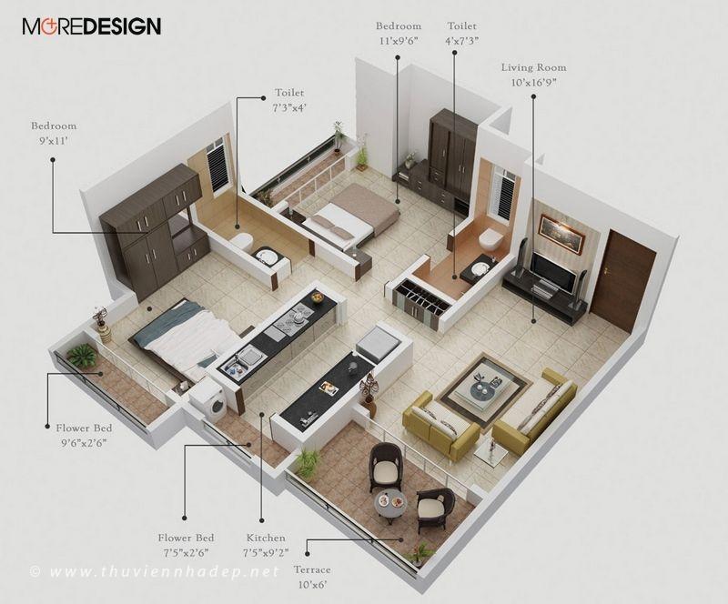 Mẫu bố trí nội thất căn hộ chung cư đẹp