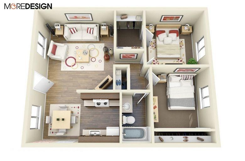 Mẫu bố trí nội thất căn hộ chung cư hiện đại