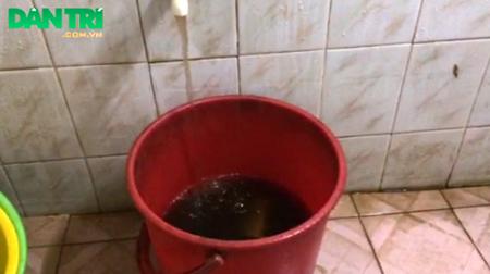 Phải trả tiền nước sinh hoạt mỗi tháng những hàng trăm hộ dân vẫn phải dùng loại nước bẩn này