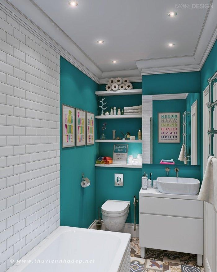 Phòng tắm & vệ sinh nhỏ gọn nhưng công năng đầy đủ