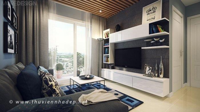 Kệ tivi phòng khách kiểu dáng đơn giản, các không gian lưu trữ được tận dụng tối đa