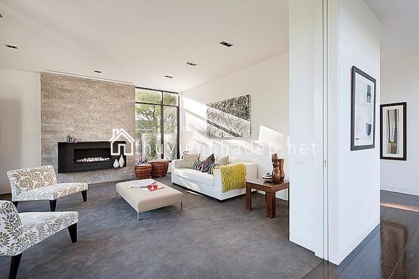 Thiết kế nội thất Phòng khách thoáng đãng của ngôi nhà.