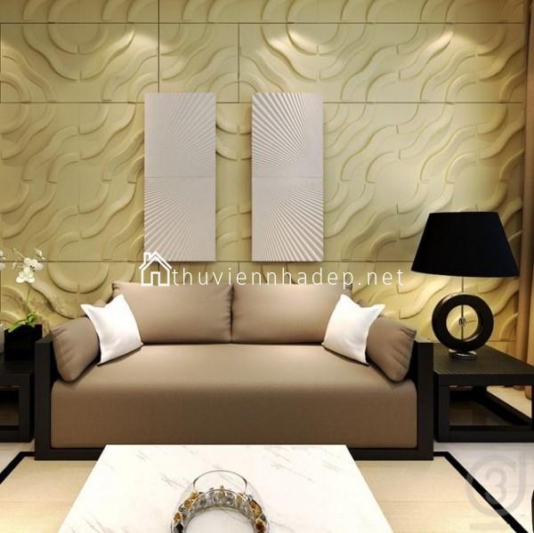 Trang trí tường phòng khách đẹp với tấm ốp 3D