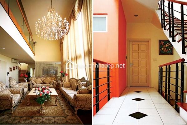 Đèn chùm là một yếu tố quan trọng trong phong cách kiến trúc cổ điển châu Âu (ảnh trái) / Lựa chọn gạch ốp lát cần xem xét tương quan, tỷ lệ phù hợp trong không gian và bề mặt diện tích ốp lát (ảnh phải).