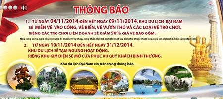 Thông báo đăng chính thức trên website của Khu du lịch Đại Nam