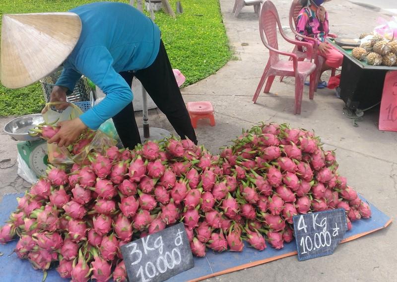 Trong khi đó, cũng tại Tân An, có nơi thanh long bán 10.000 đồng/3kg.
