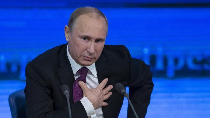 Tổng thống Nga Vladimir Putin trong cuộc họp báo ngày 18/12.