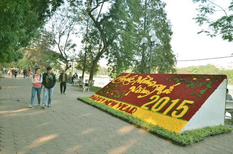 Bức tranh hoa đã hoàn thành ở ven Hồ Hoàn Kiếm