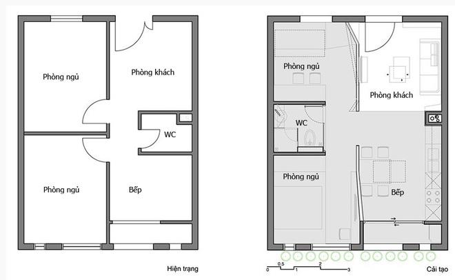 Biến căn hộ 60 m2 bí bức thành thoáng rộng