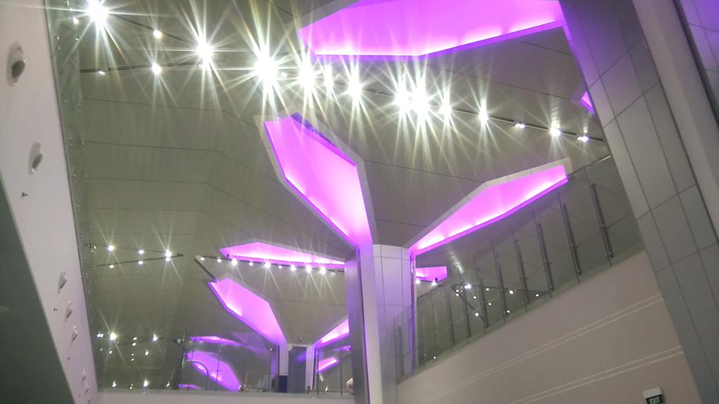 Thiết kế các trụ cột nhà ga theo hình bông sen tựa như những cánh hoa sen đang nở màu tím.