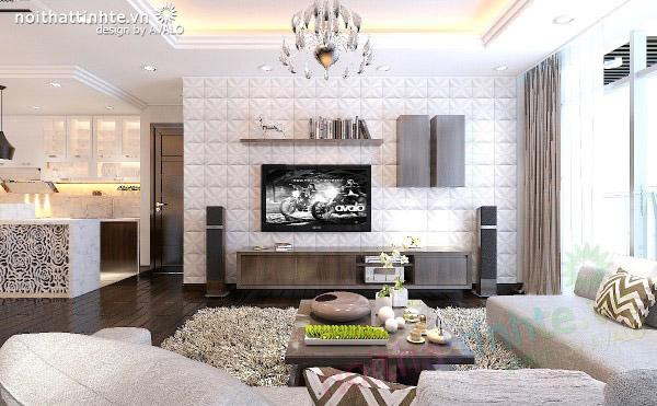 Thiết kế nội thất chung cư Thăng Long Number one màu Đen Trắng mạnh mẽ