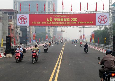 Nút giaoNguyễn Chí Thanh - Kim Mã giảm hẳn ùn tắc khi có cầu vượt