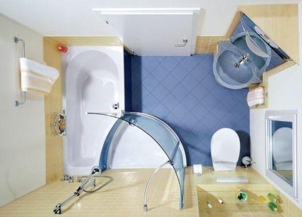 Phòng tắm nhỏ nên sử dụng nội thất có kích thước nhỏ và đặt ở góc
