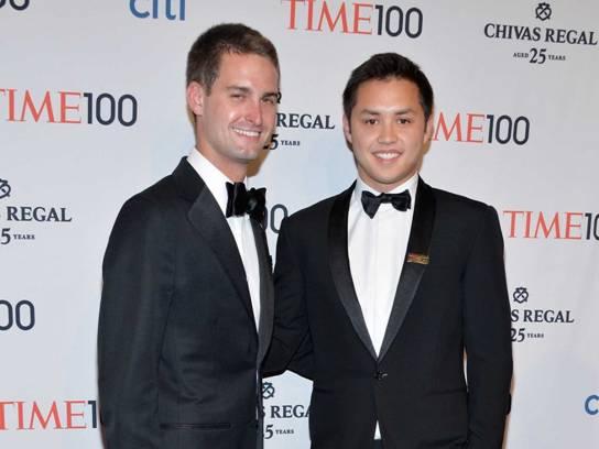 Hai nhà sáng lập ứng dụng Snapchat, Evan Spiegel (trái) và Bobby Murphy (phải) lọt vào top