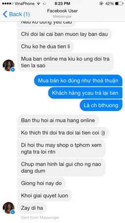 Nội dung trao đổi trên facebook của MH và người bán hàng.