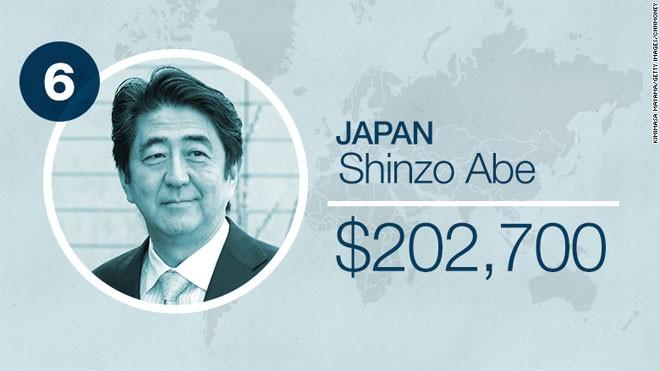 Thủ tướng Nhật Bản Shinzo Abe được trả 202.700 USD mỗi năm.