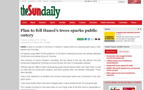 Báo chí nước ngoài viết về kế hoạch chặt 6.700 cây xanh ở Hà Nội
