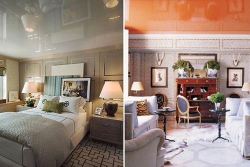 Sử dụng sơn bóng là một thủ thuật cơ bản để nới rộng không gian cho trần nhà hẹp
