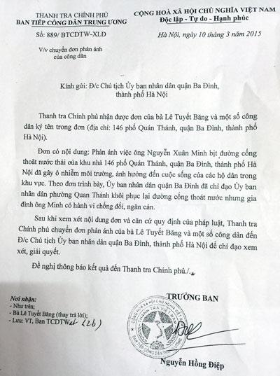 Văn bản chỉ đạo của Thanh tra Chính phủ gửi Chủ tịch UBND quận Ba Đình