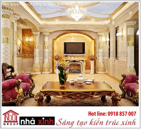 Mẫu thiết kế nội thất phòng khách cách tân Cổ điển đẹp