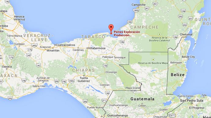 Vị trí giàn khoan dầu trên vịnh Mexico (Đồ họa: