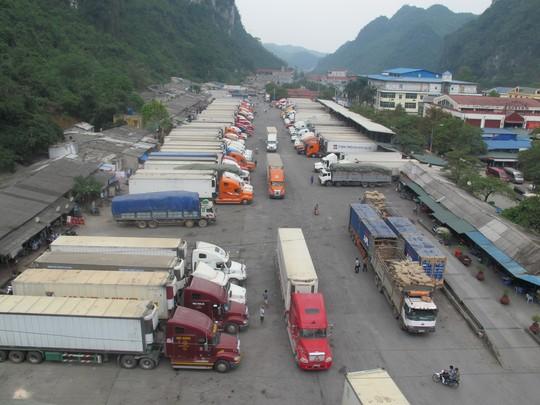 Xe chở nông sản đậu chật kín trong kho bãi của cửa khẩu Tân Thanh sáng 5/4. Ảnh: Văn Duẩn.