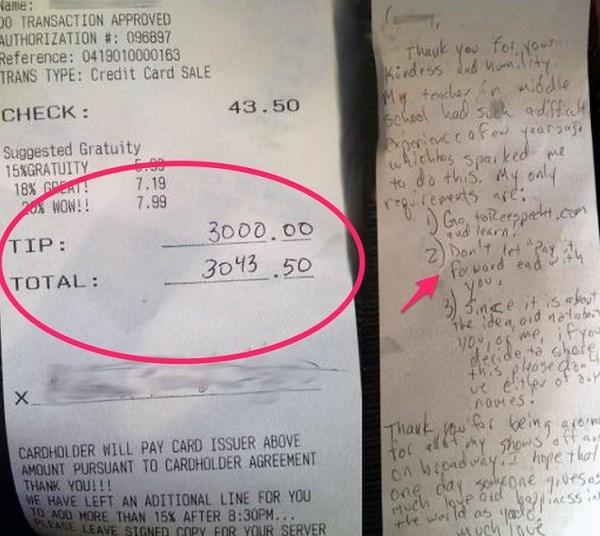 3000 đô tiền boa cho hóa đơn hơn 43 đô la của vị khách hào phóng.