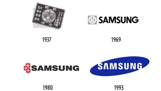 Samsung ban đầu là một cửa hàng mỳ, nên logo đầu tiên của hãng này trông không có vẻ gì là công nghệ. Vào năm 1993, hãng bắt đầu sử dụng logo màu xanh nổi tiếng.