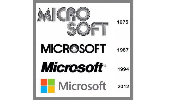 Cứ khoảng mỗi thập niên, hãng phần mềm Microsoft lại thay đổi logo một lần. Logo hiện nay nhấn mạnh dòng sản phẩm Windows của hãng.