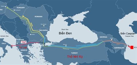 Đường ống truyền dẫn khí đốt Trans-Adriatic Pipeline - TAP (màu đỏ). Nguồn: Internet