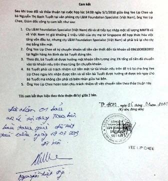 Thỏa thuận này, Yee Lip Chee đồng ý cho Tuyết 3% trong tổng số tiền mỗi lần chuyển khoản