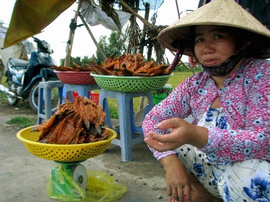Khô cá lóc được mang ra ven đường để bán cho khách qua lại