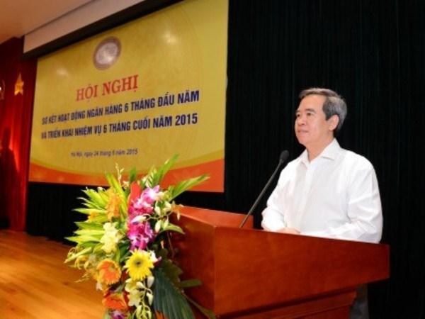 Thống đốc Nguyễn Văn Bình phát biểu tại Hội nghị. (Nguồn: Ngân hàng Nhà nước)