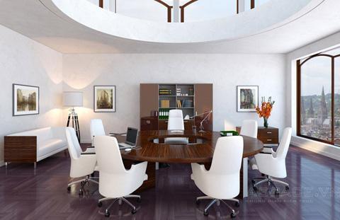 Nếu phòng rộng, phía trước vị trí sếp ngồi nên để bàn tiếp khách đơn giản