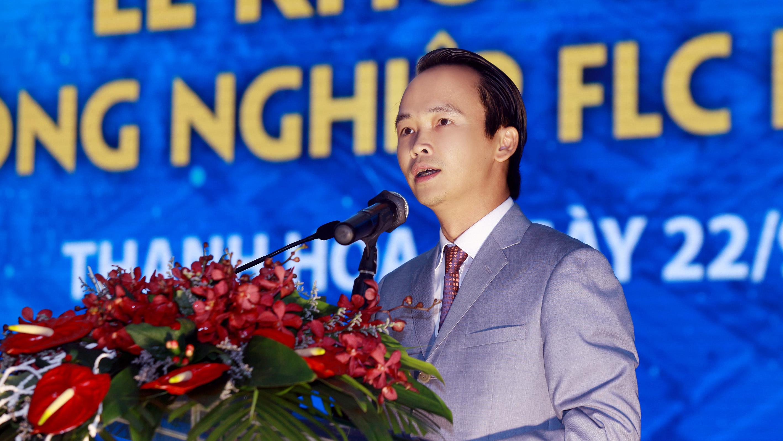 Ông Trịnh Văn Quyết, Chủ tịch HĐQT Tập đoàn FLC phát biểu khai mạc lễ khởi công