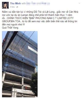 """Ca sĩ Thu Minh """"dọa"""" kiện chủ đầu tư vì chậm giao """"siêu căn hộ"""" 85 tỷ đồng"""