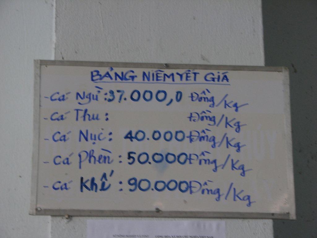 Tại các điểm bán cá sạch có bảng niêm yết giá