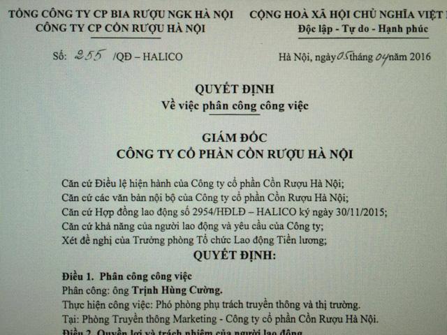 Ông Mai Văn Lợi- cán bộ cũ của ông Trịnh Xuân Thanh ở PVC nay lấy quyền Giám đốc Halico bổ nhiệm con ông Trịnh Xuân Thanh làm Phó phòng, dù con ông Thanh mới ra trường chưa lâu.