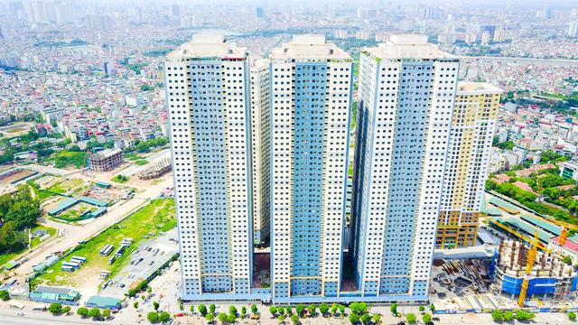 Dự án Kim Văn - Kim Lũ (CT11, 12) thuộc quận Hoàng Mai, gồm bốn tòa nhà 45 tầng.