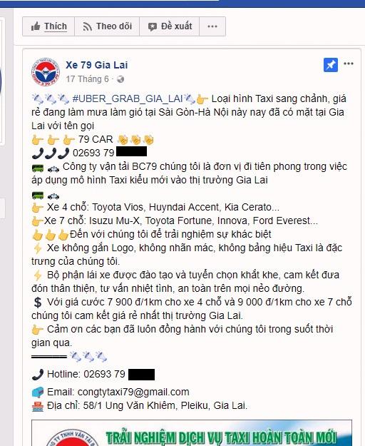 """Xuất hiện taxi Uber, Grab """"trá hình"""" tại Gia Lai"""