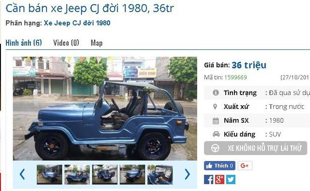 """Chiếc xe Jeep CJ đời 1980 có giá 36 triệu đồng, được giới thiệu máy """"êm ru, nguyên bản, không đâm đụng, ngập nước"""". Ảnh: Lâm Anh"""