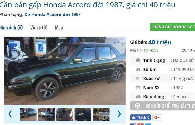 Chiếc Honda Accord đời 1987 được chủ nhân rao bán giá 40 triệu. Xe được giới thiệu là có nội thất mới bọc da, máy lạnh dùng tốt, máy nghe nhạc, màn hình DVD tốt.