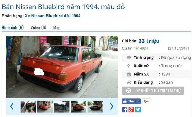 Chiếc Nissan Bluebird năm 1994, màu đỏ còn đăng kiểm, máy ổn định, điều hòa tốt được rao giá 33 triệu đồng.