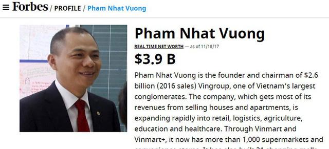 Tỷ phú Việt, những khối tiền tỷ USD Forbes không ngờ tới